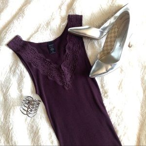 Silk cotton blend lace v-neck tank top purple plum